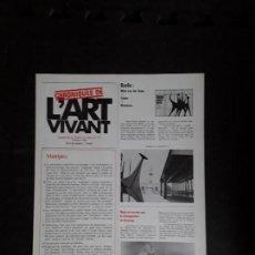 Arte: (REVISTA DE ARTE) L'ART VIVANT. SUPLEMENT AU DERRIÉRE LE MIROIR Nº 173/ OCTOBRE 1968. PARIS.. Lote 144597982