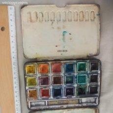 Art: ANTIGUA CAJA DE METAL DE ACUARELAS, CON 18 POCILLOS REEVES STUDENTS COLOUR BOX NO.140. WATERCOLOR. Lote 144664998