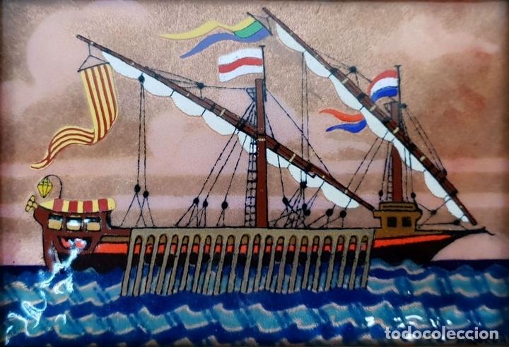Arte: COLECCIÓN DE 3 EMBARCACIONES. METAL ESMALTADO. FIRMADO A. RUEDA. SIGLO XX. - Foto 4 - 145565926