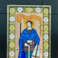 Arte: SANT JORDI. ESMALTE SOBRE COBRE. MARCO DE PLATA. FIRMADO A. RUEDA. SIGLO XX. . Lote 145576658
