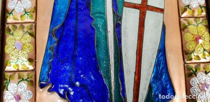 Arte: SANT JORDI. ESMALTE SOBRE COBRE. MARCO DE PLATA. FIRMADO A. RUEDA. SIGLO XX. - Foto 2 - 145576658