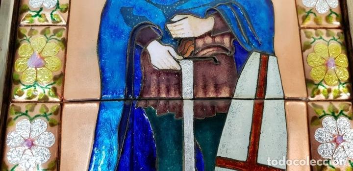 Arte: SANT JORDI. ESMALTE SOBRE COBRE. MARCO DE PLATA. FIRMADO A. RUEDA. SIGLO XX. - Foto 3 - 145576658