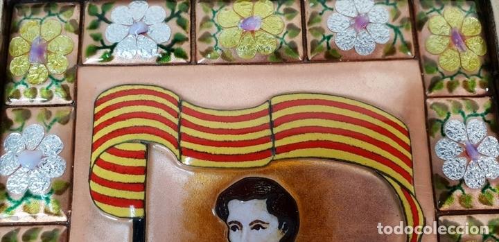 Arte: SANT JORDI. ESMALTE SOBRE COBRE. MARCO DE PLATA. FIRMADO A. RUEDA. SIGLO XX. - Foto 4 - 145576658
