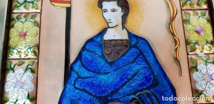 Arte: SANT JORDI. ESMALTE SOBRE COBRE. MARCO DE PLATA. FIRMADO A. RUEDA. SIGLO XX. - Foto 6 - 145576658
