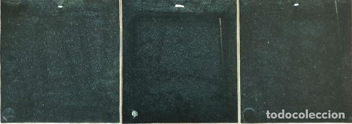 Arte: CONJUNTO DE 3 ESMALTES SOBRE COBRE. FLORES. FIRMADOS A. RUEDA. SIGLO XX. - Foto 2 - 145579314