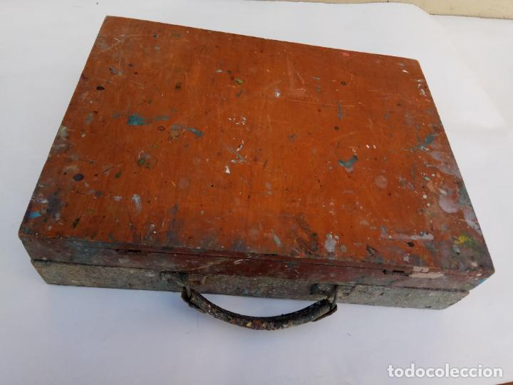 ANTIGUA MALETA DE PINTOR 43 X 33 X 9,5 CM. (Arte - Material de Bellas Artes)