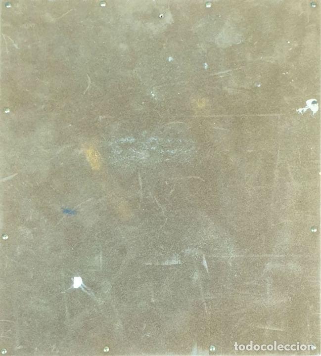 Arte: JOVEN SENTADA. ESMALTE SOBRE METAL. MARCO DE PLATA. COPIA DE R. CASAS. SIGLO XX. - Foto 2 - 161744998