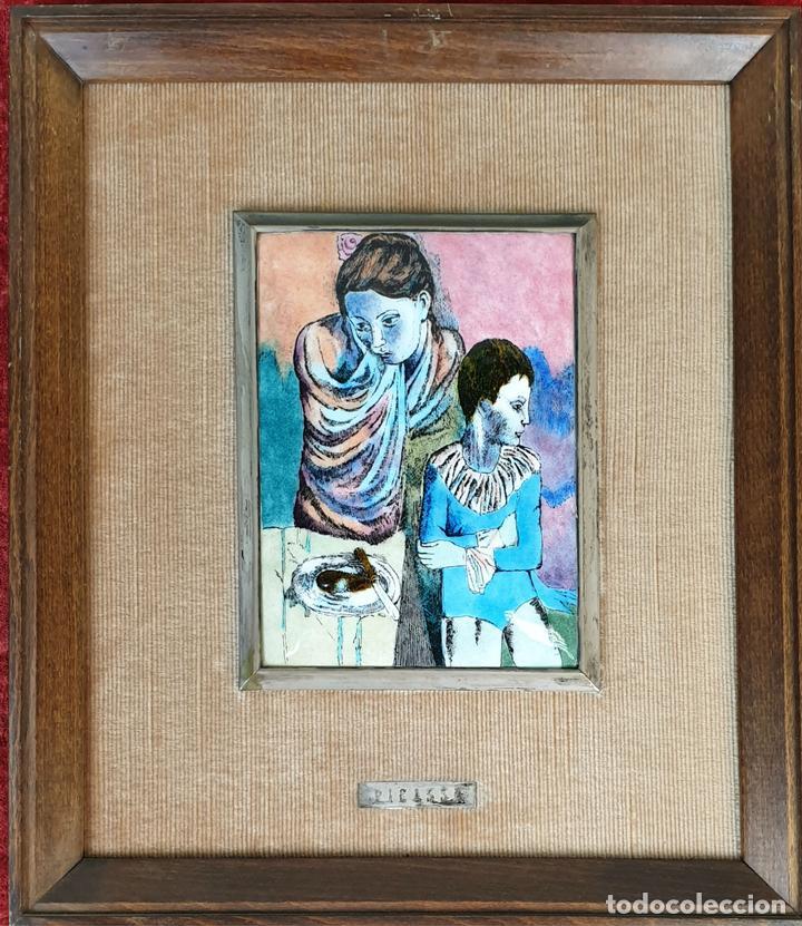 CUADRO DE PICASSO. ESMALTE SOBRE METAL MARQUITO DE PLATA. SIGLO XX. (Arte - Material de Bellas Artes)