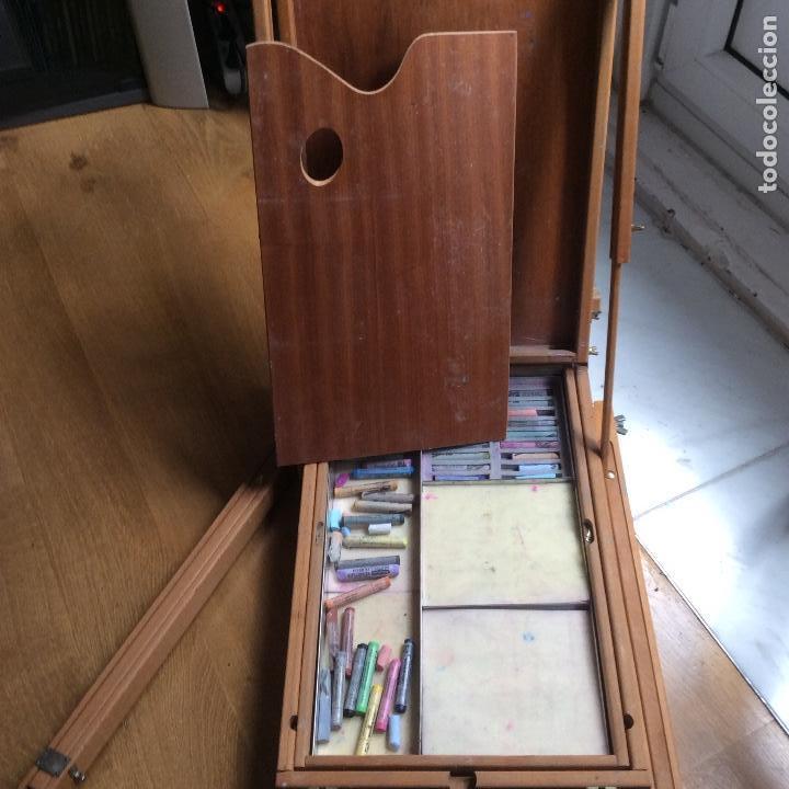 Arte: Caballete portátil de pintura con cajonera y diverso material - Foto 6 - 168755168