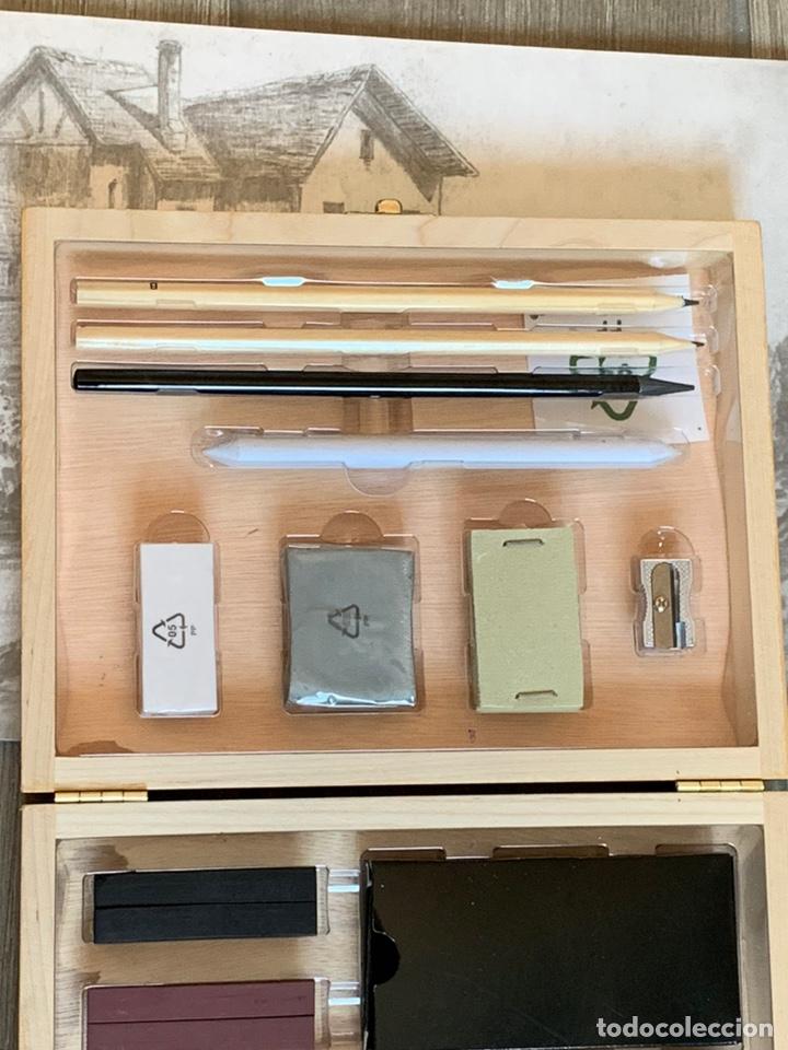 Arte: Set de carboncillos para dibujo en maletín de madera de abedul nuevo más un bloc para bocetos - Foto 3 - 171232943