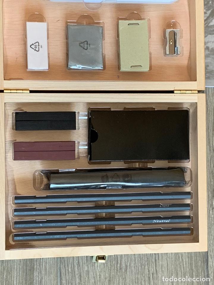 Arte: Set de carboncillos para dibujo en maletín de madera de abedul nuevo más un bloc para bocetos - Foto 4 - 171232943