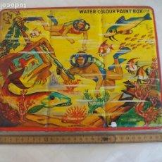 Arte: ANTIGUA CAJA DE METAL DE ACUARELAS PESCA SUBMARINA, PAGE LONDON VINTAGE PAINT BOX WATERCOLOR TOY TIN. Lote 173915017