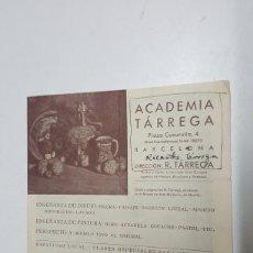 Arte: TARIFAS ACADEMIA RICARDO TARREGA BARCELONA AÑO 1935 CON NOTAS. Lote 182725912