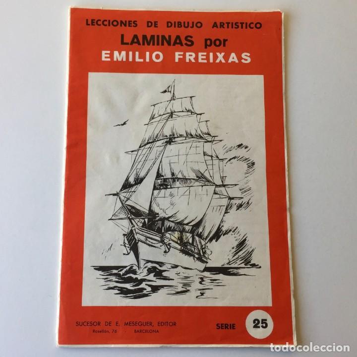 LECCIONES DE DIBUJO ARTÍSTICO - LAMINAS POR EMILIO FREIXAS SERIE 25 - COMPLETA CON 12 LÁMINAS (Arte - Material de Bellas Artes)