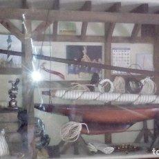 Arte: CUADRO MODELISMO NAVAL DE ASTILLERO CON VELERO.. Lote 193079907