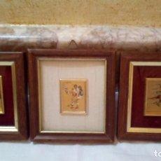 Arte: TROIS (3) PETITES PEINTURES DE FEUILLES D'OR VINTAGE. Lote 212537840