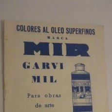 Arte: ANTIGUO FOLLETO.LISTA DE PRECIOS.MARCA MIR.GARVI MIL.COLORES AL OLEO.1958. Lote 216623658