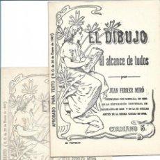Arte: EL DIBUJO AL ALCANCE DE TODOS, 2 CUADERNOS NÚM. 5 Y 10, POR JUAN FERRER MIRÓ. NUEVOS A ESTRENAR. Lote 221940752