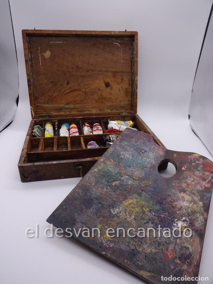 ANTIGUA CAJA DE PINTOR CON PALETA, PINTURA, PINCELES..... 28 X 20 X 6 CTMS (Arte - Material de Bellas Artes)