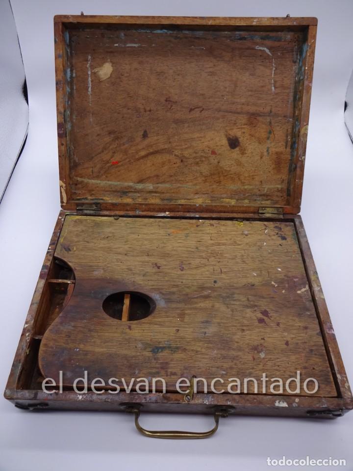 Arte: Antigua caja de pintor con paleta, pintura, pinceles..... 28 x 20 x 6 ctms - Foto 2 - 222788032