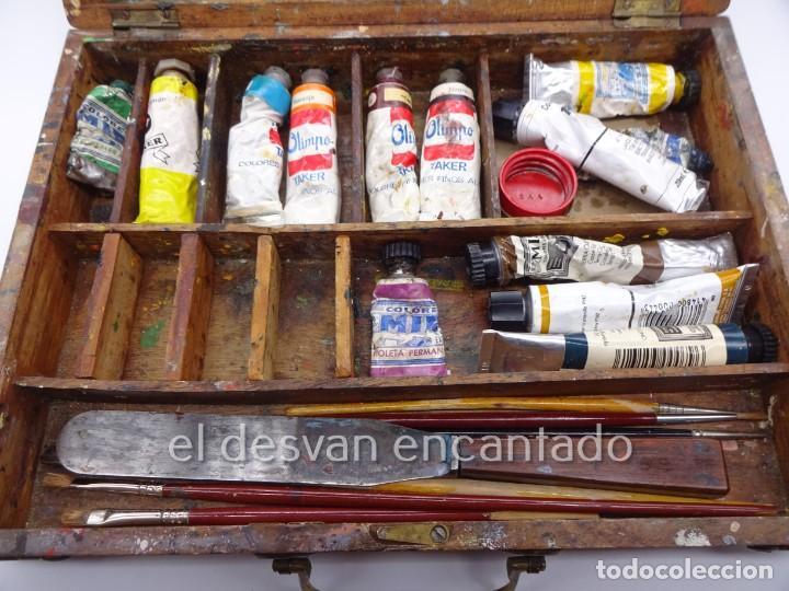 Arte: Antigua caja de pintor con paleta, pintura, pinceles..... 28 x 20 x 6 ctms - Foto 3 - 222788032