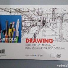 Art: BLOCK DE PAPEL ESPECIAL PARA DIBUJO - DRAWING - CAMPUS UNIVERSITY. Lote 228771060