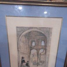 Arte: LITOGRAFIA GRANADA ALHAMBRA DE 1830-1840 DE JHON FREDERICK LEWIS PINTADA A MANO WINDOW IN THE HALL. Lote 253662790