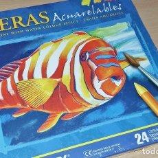 Arte: CAJA DE CERAS ACUARELABLES MANLEY 24 CERAS NUEVO PARA ESTRENAR. Lote 277555893