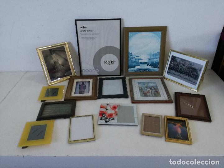 GRAN LOTE CON 15 MARCOS O PORTAFOTOS, VARIOS MATERIALES Y DISEÑOS (Arte - Material de Bellas Artes)