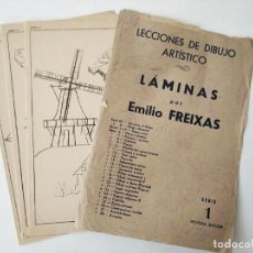 Arte: 12 ANTIGUAS LAMINAS PARA DIBUJO EMILIO FREIXAS SERIE 1 EN SU SOBRE. Lote 270626048
