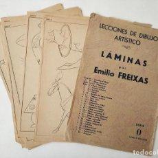 Arte: 12 LAMINAS ANTIGUAS DE DIBUJO EMILIO FREIXAS SERIE 0 - EN SU SOBRE. Lote 270626303