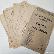 Arte: 12 LAMINAS ANTIGUAS DE DIBUJO EMILIO FREIXAS SERIE 2 - EN SU SOBRE. Lote 270626393