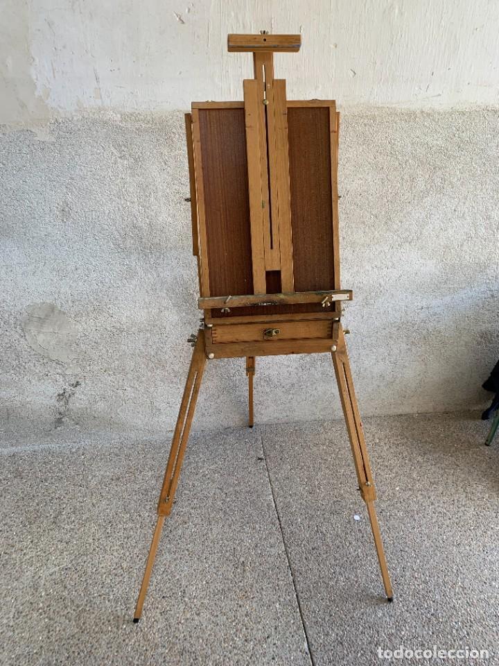 CABALLETE PINTURA OLEO PLEGABLE MADERA MARCA BONFIL DE CAMPAÑA CON MALETIN CAJON (Arte - Material de Bellas Artes)