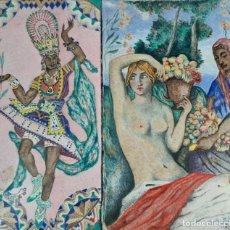 Arte: PAREJA DE ESMALTES. PINTADO A MANO POR CARLES RIDAURA EN 1934. Lote 287258353