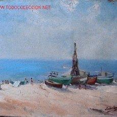 Arte: 746.- OLEO S/TELA 46X38 ,,,MARINA,,, LEON CREUS 1949. Lote 26968218