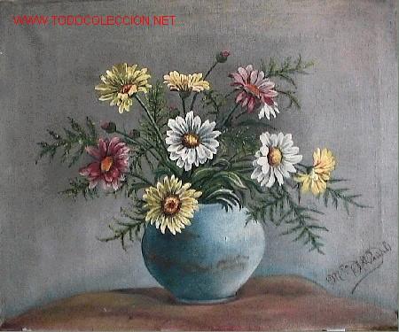 748.- OLEO S/TELA 46X33 ,,,FLORES,,, Mª.A.VIÑALS (Arte - Pintura - Pintura al Óleo Contemporánea )