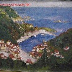 Arte: OLEO S/TELA 65X50 PUEBLO COSTA. Lote 25672813