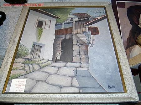 CAYETANO LLEDO, PINTOR CÁNTABRO - ÓLEO TABLA PAISAJE COMBARRO - PONTEVEDRA - GALICIA, TOTAL 87X72CM+ (Arte - Pintura - Pintura al Óleo Moderna sin fecha definida)