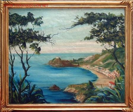 PAISAJE COSTERO - FDO. L. DEL VALLE , ESC. CATALANA S. XX (Arte - Pintura - Pintura al Óleo Moderna sin fecha definida)