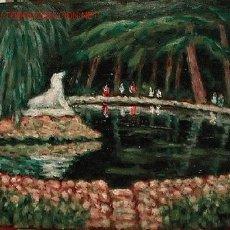 Arte: 606.- OLEO SOBRE TABLEX 35X27 ,,,ESTANQUE PARQUE SANT JORDI DE TERRASSA,,, PLAIXATS. Lote 24828155
