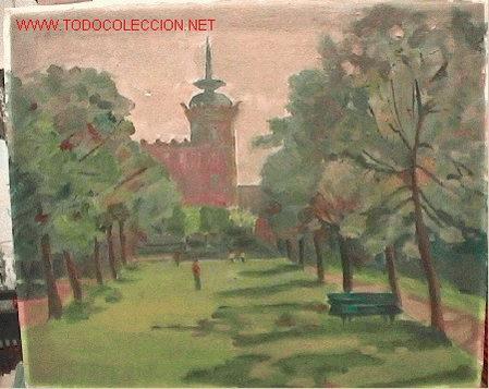 532.- OLEO S/TELA 46X33 ,,,PARQUE PALACIO,,, ANONIMO (Arte - Pintura - Pintura al Óleo Contemporánea )