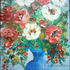 Arte: CLOTILDE MAGNANI (1912-2004). JARRON CON FLORES. OLEO SOBRE TABLA. 42 X 18.5 CM. FIRMADO.. Lote 27548866