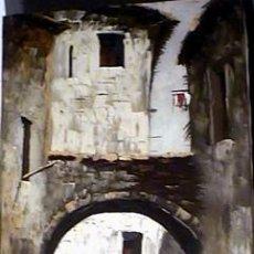 Arte: 1175.- OLEO S/TELA 100X50 ,,,CALLE CON PORTAL,,, FIRMA ILEGIBLE. Lote 26654632