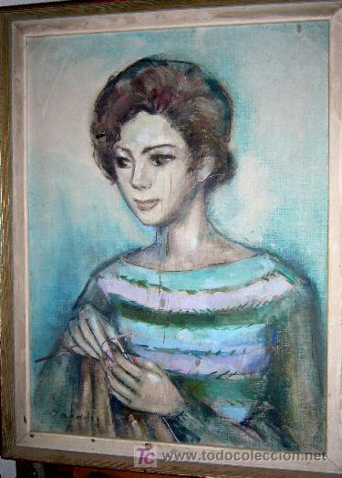 1223.- OLEO S/TELA 72X54 ,,,MUJER HACIENDO CALCETA,,, MARIA TERESA BEDÓS GARCIA (Arte - Pintura - Pintura al Óleo Moderna sin fecha definida)