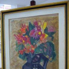 Arte: 1302.- ACRILICO S/PAPEL 65X80 ENMARCADO ,,,FLORERO,,, FIRMA ILEGIBLE. Lote 27255282