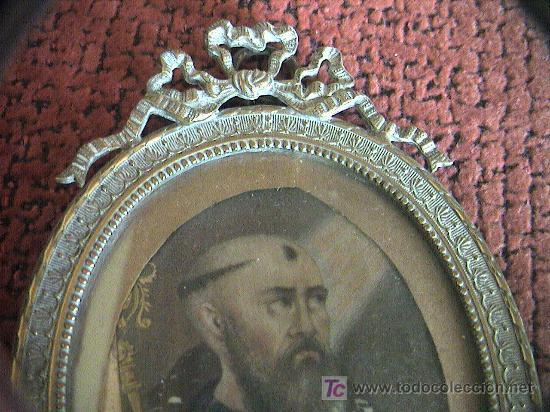 Arte: MINIATURA.PINTURA SOBRE LAMINA DE MARFIL SIGLO XVIII-XIX CON MARCO DE BRONCE. 12 cm. x 8 cm. - Foto 4 - 5232427