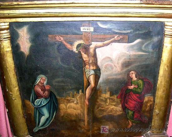 CALVARIO ESCUELA TOLEDANA SIGLO XVII. OLEO/S TABLA. VER DESCRIPCIÓN. MD. 77X63 ADJUNTA. ENVÍO PAGO. (Arte - Pintura - Pintura al Óleo Antigua siglo XVII)