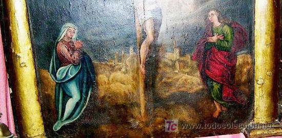 Arte: CALVARIO ESCUELA TOLEDANA SIGLO XVII. Oleo/s TABLA. VER DESCRIPCIÓN. Md. 77x63 ADJUNTA. ENVÍO PAGO. - Foto 4 - 56041291