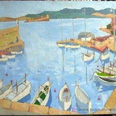 Arte: 1514.- OLEO SOBRE LIENZO 65X81 ,,,AMARRADERO BARCAS,,, FIRMA ILEGIBLE. Lote 24628252