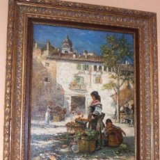 Arte: PINTURA COSTUMBRISTA VALENCIANA S.XIX. FIRMADO J. MONTES O/L 91X60. IMPRESIONANTE MARCO DE LA ÉPOCA. Lote 26877174
